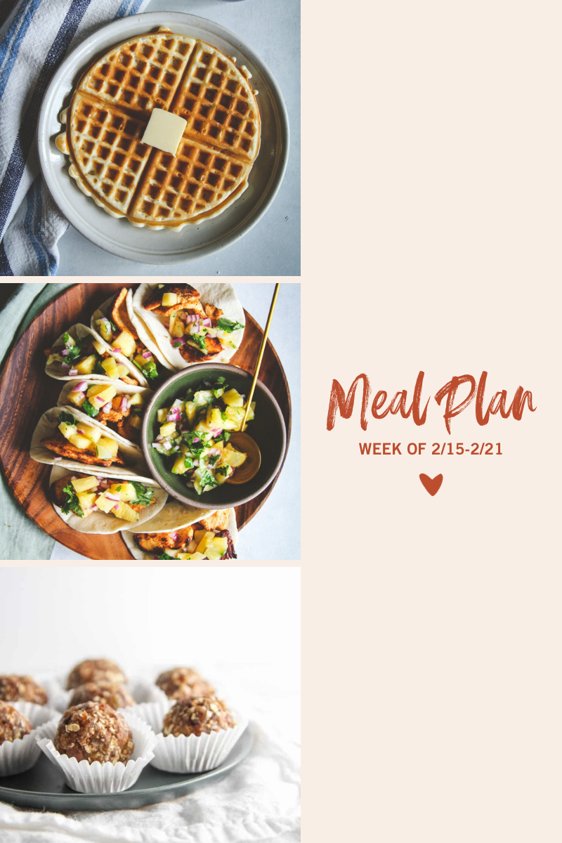 Eggless waffles, chicken tacos with pineapple salsa and oatmeal cookie energy bites
