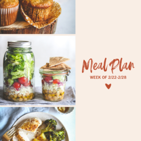 Easy banana bread muffins, Greek chickpea salad in a jar and hot honey baked chicken