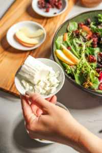 Goat cheese topping for salad with candied nuts