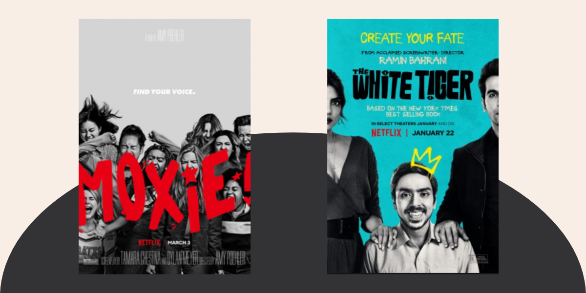 Movie covers from Moxie and White Tiger