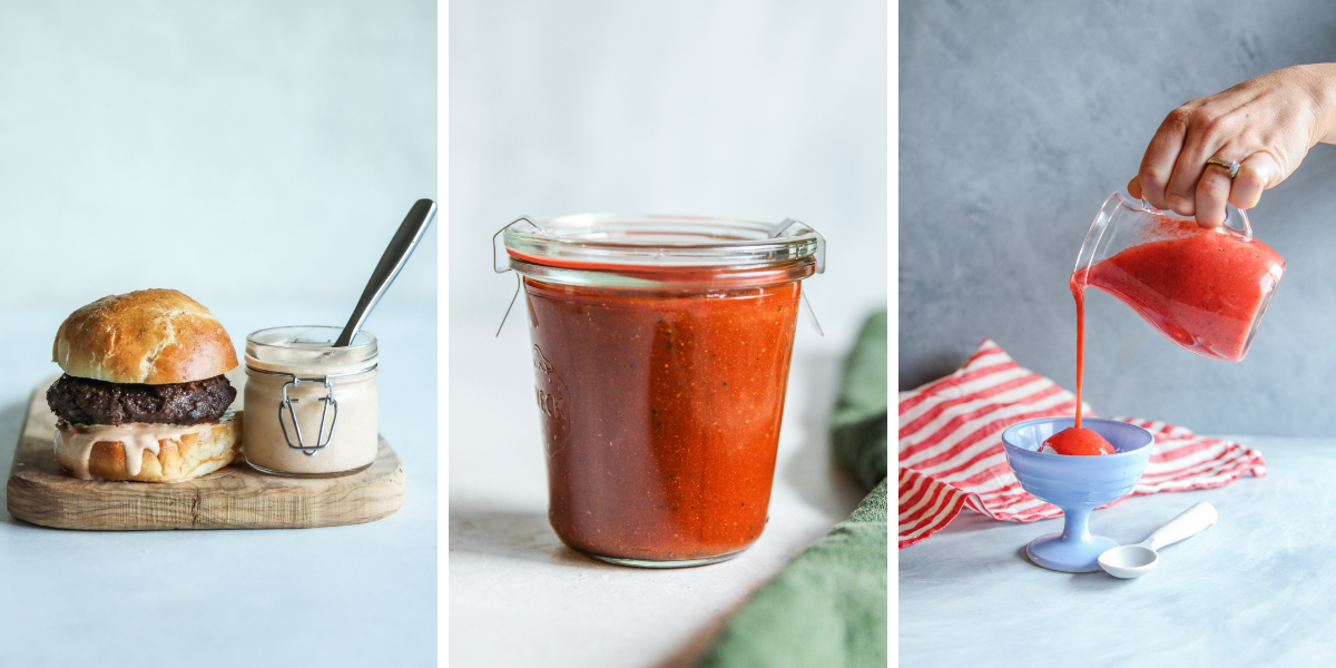 Remoulade sauce, BBQ sauce, Strawberry sauce
