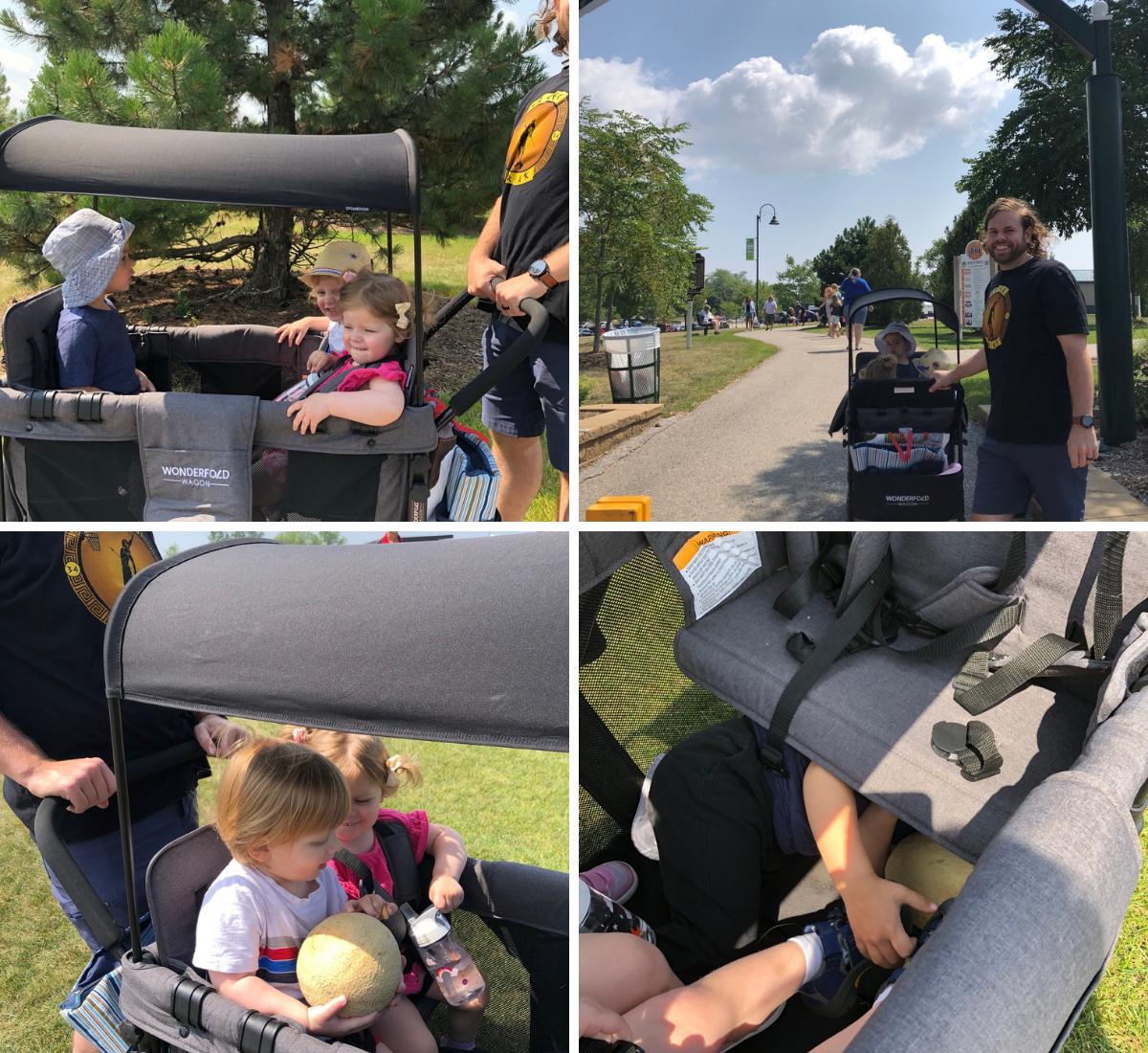 Kids in wagon stroller
