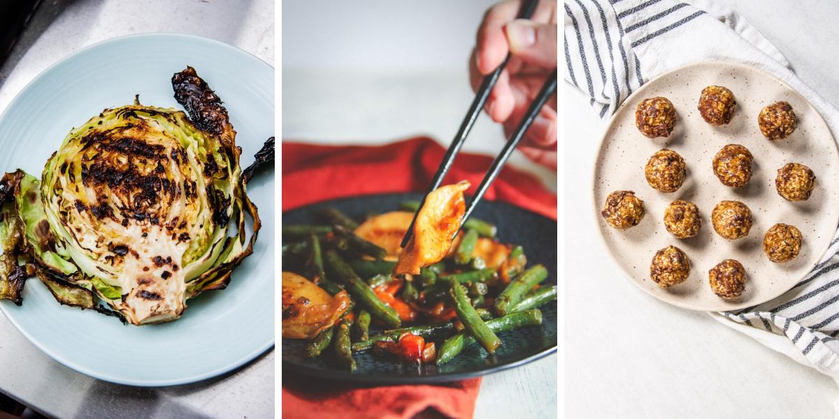 Grilled cabbage steaks, vegetarian dumpling stir fry, energy balls without dates