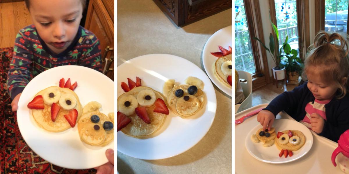 Fluffy pancakes shaped like owl and bear