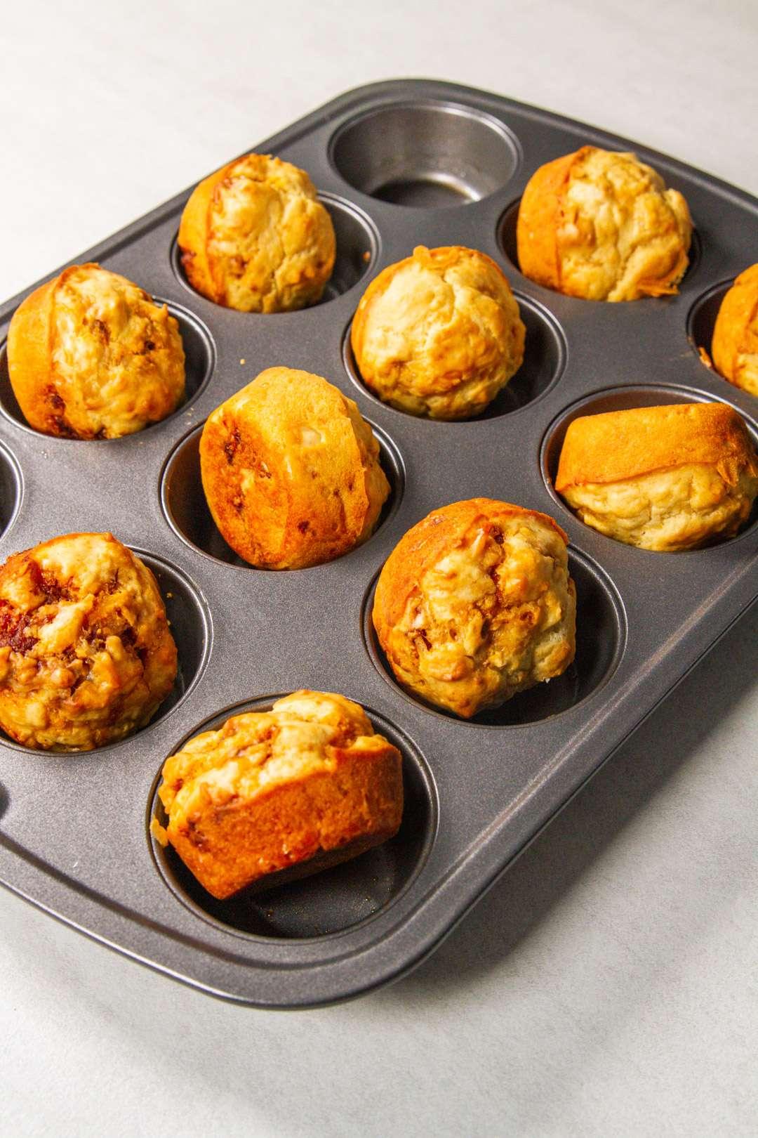 5 ingredient parmesan chorizo muffin on their side
