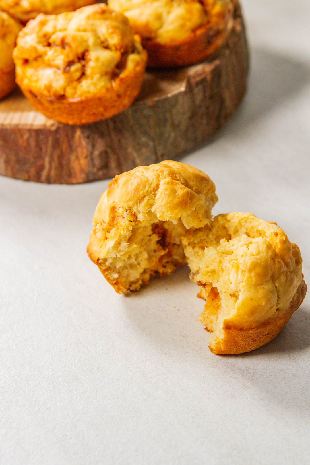 Broken open 5 ingredient parmesan chorizo muffin