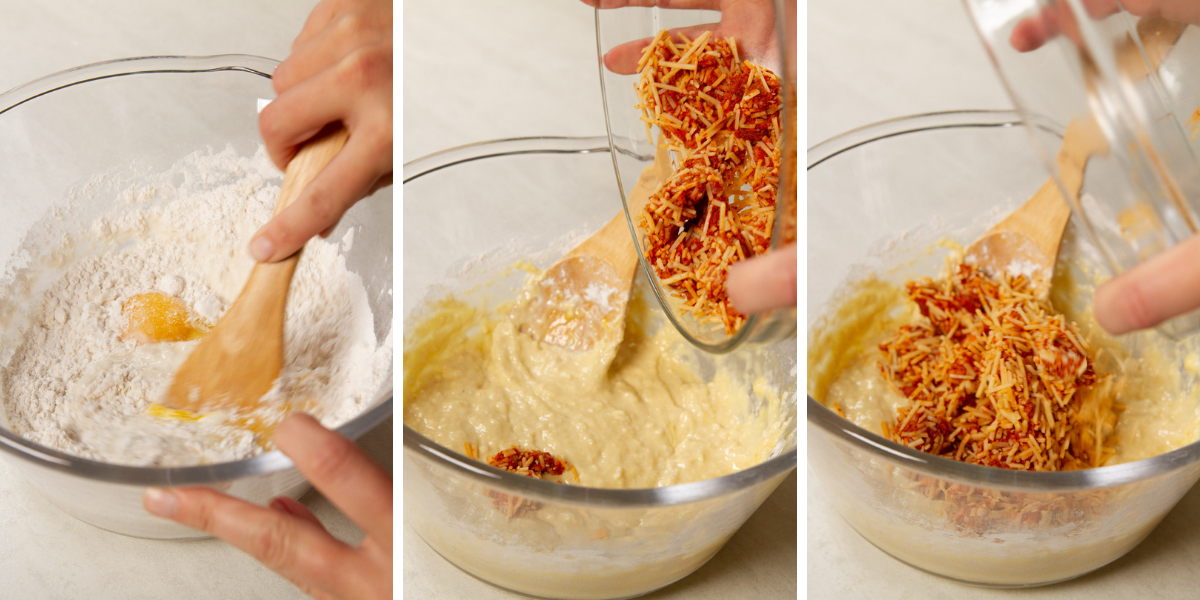 Mixing parmesan and chorizo into muffin batter